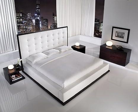 Amazon Com Ludlow Platform Bed Size Queen Finish Wenge White Furniture Decor