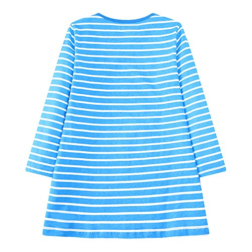 Youlebao Girls Cotton Long Sleeve Casual Cartoon Appliques Striped Jersey Dresses