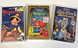 Disney Collection, Lot of 3 Vhs: Pinocchio, The Little Mermaid and Lady and the Tramp II Scamp's Adventure [VHS].