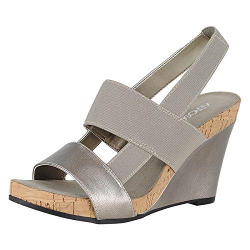 Aerosoles Womens Magnolia Plush Wedge Sandal Silver TzTVZMArAO