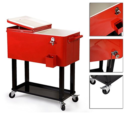 Outdoor Rolling Deck Cooler Cart Steel Body Handles Powder Coat Finish With 80 Quarts And Rear Drain TSE131A