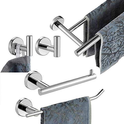 JQK Bathroom Hardware Towel Bar Set, 5-Piece Bath Accessories Set Polished Chrome Wall Mount Includes 24 in Towel Bar, 9 in HT Bar, TP Holder, Towel Hook x 2, BAS105-CH