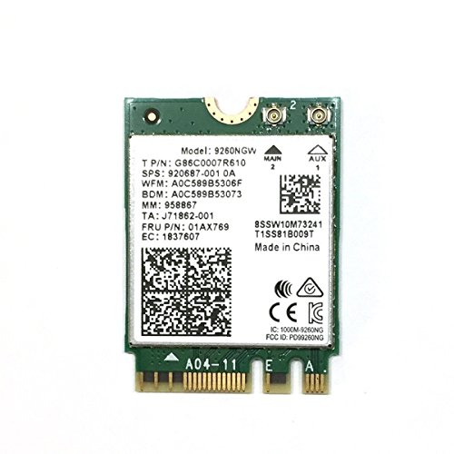 Dual Band Wireless- AC 9260NGW NGFF Wifi Card M.2 NGFF 2.4/5GHz(160Mhz) Bluetooth 5.0 Wireless WiFi Card 1.73Gbps by PJCARD