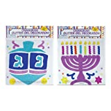 Rite-Lite Judaica Chanukah Window Gel Decorations, Glitter Asst.