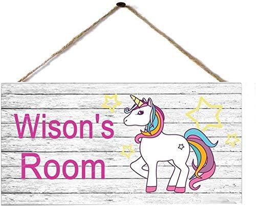 Personalised Wooden Name Wall Door Plaque Sign nursery Baby Girl Round Rainbow