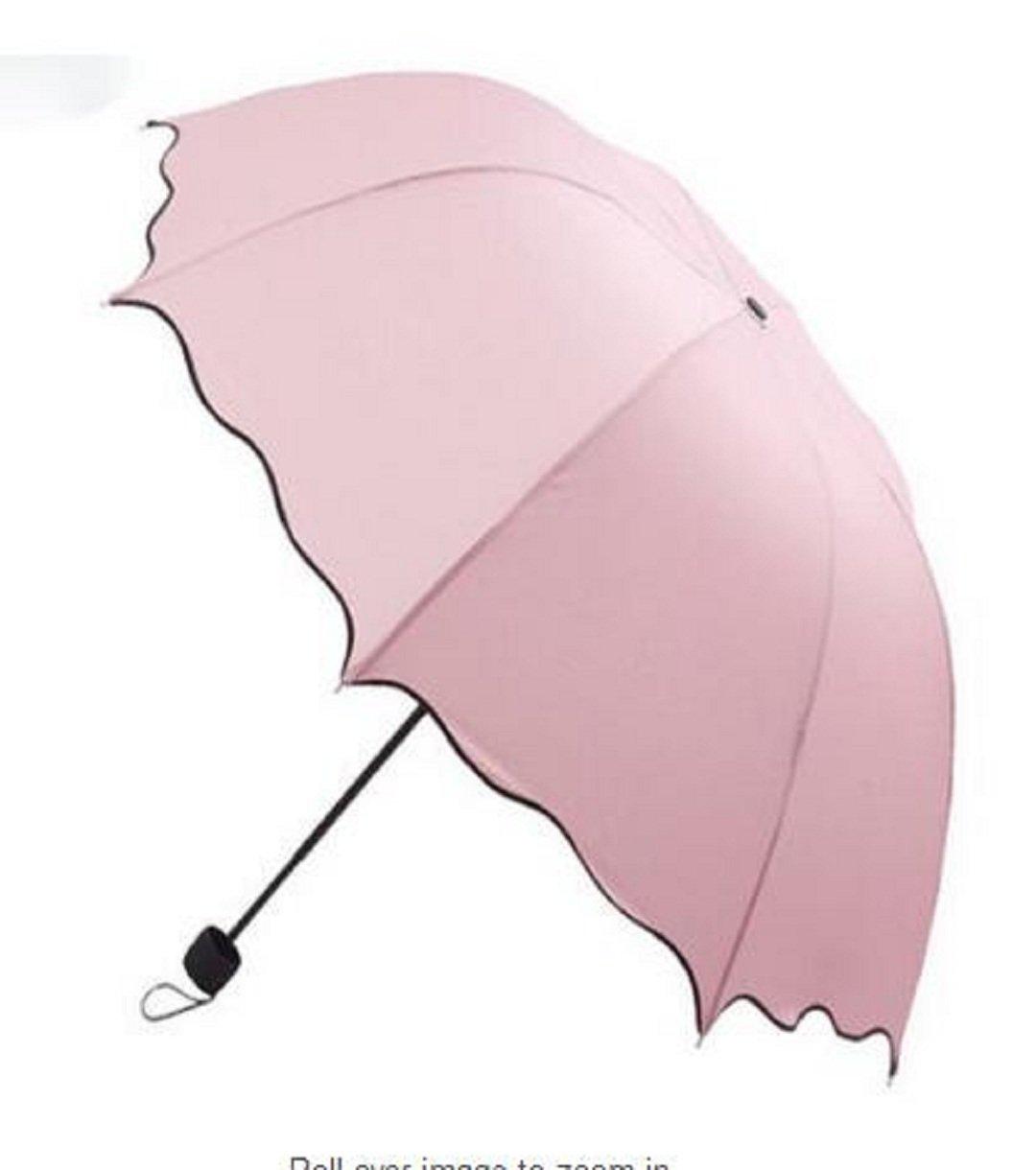 Wendin Parasol Triple Folding Dome Ruffled Sun Rain Umbrella Anti-UV Parasol Pink Wendin creative Co .ltd.