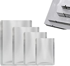 """Aluminum Foil pouches 100 Pack Ziplock Bags Pouch Resealable Ziplock Aluminum for Beans Coffee Cookie Snack Food Dried Flowers Tea Food Storage (Vacuum seal, 4.7""""x7"""", 6.3""""x9"""", 7.8"""" x 11.8"""", 10.2""""x15"""")"""