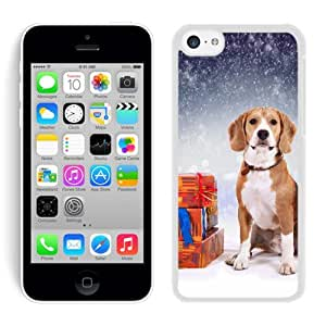 Personalize offerings Christmas Snowflakes Dog With Gifts White Hard Shell Iphone 5c Plastic Phone Case by Maris's Diary
