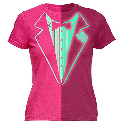 [Glow In The Dark Tuxedo T-Shirt Prom Tee Luminous Fancy Dress Tux Top Party Costume (XL - HOT PINK) FITTED] (Womens Tuxedo Costumes Tshirt)