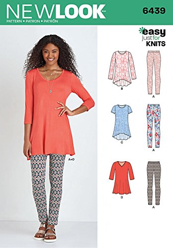 32700ee6340 New Look Ladies Easy Sewing Pattern 6439 Just for Knits Tunic Tops &  Leggings: Amazon.co.uk: Kitchen & Home