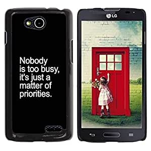 All Phone Most Case / Hard PC Metal piece Shell Slim Cover Protective Case Carcasa Funda Caso de protección para LG OPTIMUS L90 / D415 priorities busy inspirational inspiring