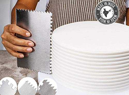 Bianca Degeneres Decorating Comb & Icing Smoother, Stainless Steel 4 Sided Baking Supplies, (3 Unique Patterns and 1 Smooth) 6 x 4″, Silver (Stainles Steel S9)