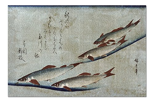 River Trout - Japanese Wood-Cut Print (20x30 Premium 1000 Piece Jigsaw Puzzle, Made in USA!) -