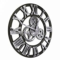 Continental antique art and creative industrial-style living room wall clock gears wall clock,Silver
