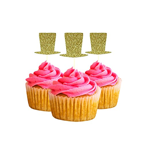 Top hat Cupcake Topper 12 Pack Cupcake Topper Decoration Cake glitter Card stock