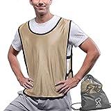 SportsRepublik Pinnies Scrimmage Vests (12-Pack) | Multiple Colors Practice Jerseys | Kids, Youth or Adult Sizes | Gold Large