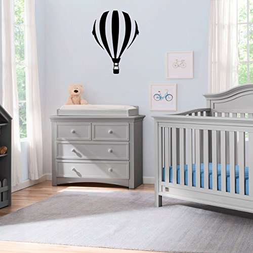 ((2x) Nursery Series Hot Air Balloon Sticker for Cribs, Walls, Dressers, and More! (Black))