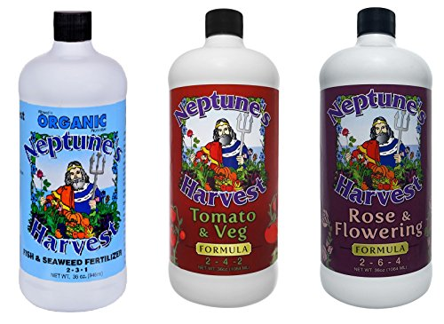 Neptune's Harvest 32 oz Three Bottle Collection - Fish and Seaweed, Flower and Rose, Tomato and Vegetable (Tomato Rose)