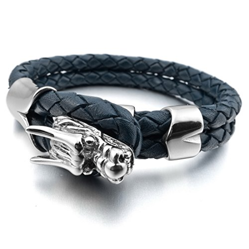 INBLUE Stainless Genuine Leather Bracelet