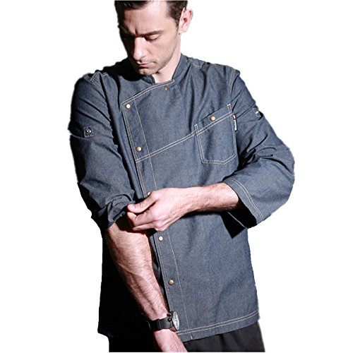 XINFU Chef Jacket Cowboy Uniform Fashion Long Sleeve Air Work Chef Coat for Men Restaurant Kitchen by XINFU