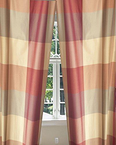 Buffalo Checks Silk Taffeta Living Room Window Lined Rod Pocket Curtain Panel Drape (52W X (Taffeta Embroidered Rod Pocket Curtain)
