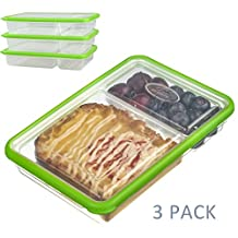 SELEWARE 2-Compartment Food Container,Lunch Container,Divided Container,Bento Food Container with Lids,BPA-Free, Airtight,Leak-proof,Microwave,Oven,Freezer,Dishwasher Safe(23oz, Set of 3, Green)