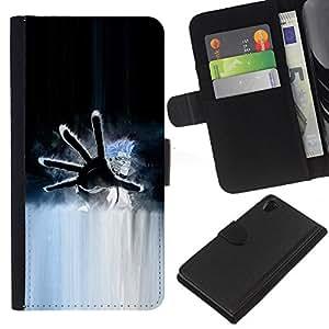 A-type (Mano) Colorida Impresión Funda Cuero Monedero Caja Bolsa Cubierta Caja Piel Card Slots Para Sony Xperia Z2 D6502