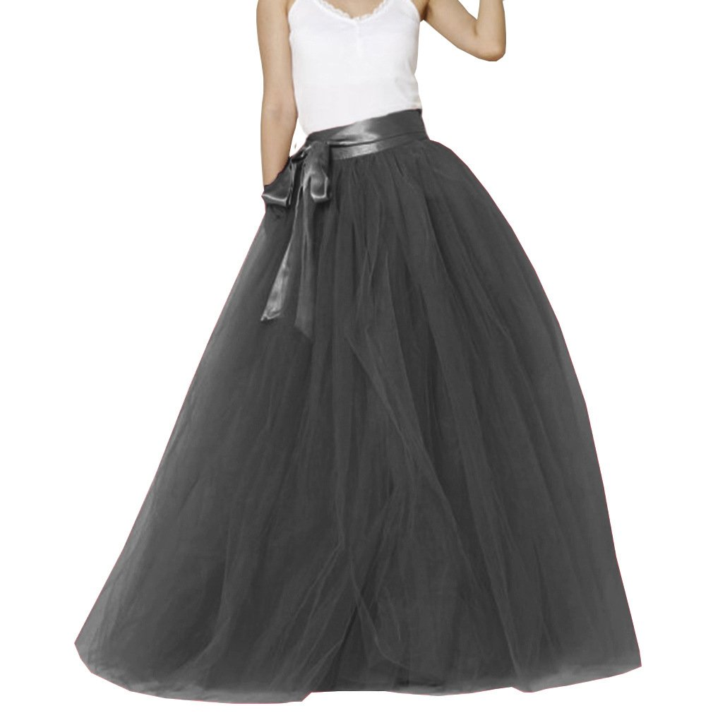 Lisong Women Floor Length Bowknot Tulle Party Evening Skirt 2 US Black