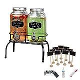 Estilo 1 Gallon Glass Mason Jar Double Drink Dispenser +Mini Chalkboard with Stand for Message Board Signs