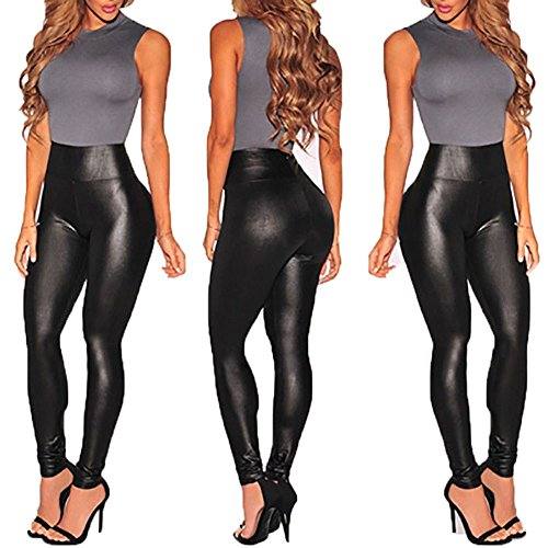Legging Sexy Leather High Waist Stretch Slim Skinny Tight Pencil Pants for Women (M)