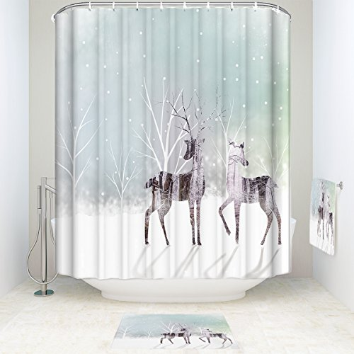 Low Cost Waterproof Snowing Forest Deer Pattern Bathroom Shower Curtain With Mats Rugs Bath Accessory