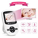 """Video Baby Monitor with camera, Night Vision, Two Way Talk, 2.4"""" LCD Screen and Digital Zoom Camera, Temperature Detection, Eco mode, Long Range, Lullabies, Elder/Pet Monitor"""