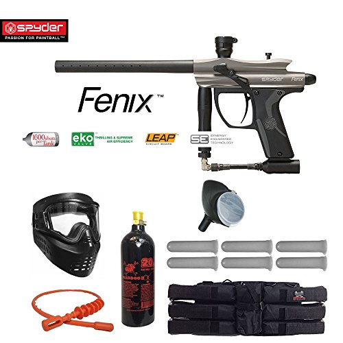 Paintball Guns Spyder Electronic (Kingman Spyder Fenix Titanium Paintball Gun Package - Silver / Grey)