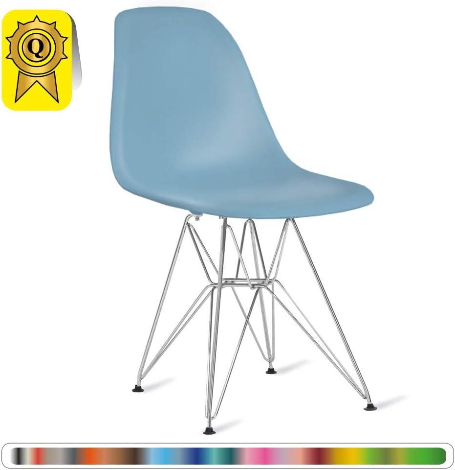 Decopresto Sale 6 x Designer Chair Legs :Chrome Stainless Steel  .Seat:Graphite Blue