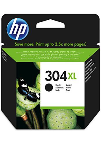HP 304XL Black Original High Capacity Ink Cartridge - Cartucho de tinta para impresoras (Negro, Alto, HP, Deskjet 3720,...