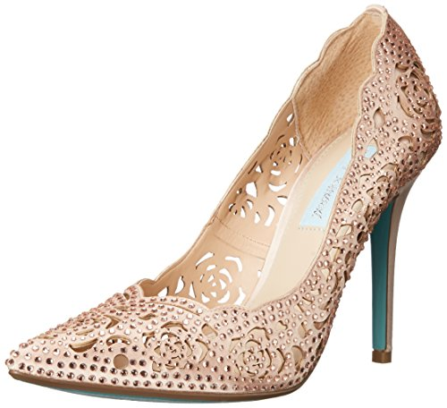 Blue By Betsey Johnson Women's Sb-elsa Dress Pump, Blush Satin, 7.5 M US (Wedges Betsey Leather Johnson)