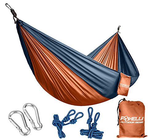 Foxelli #1 Double & Single Camping Hammock - Ultralight Nylon Portable Parachute, Best for Light Backpacking Survival Beach Travel & Backyard Fun - Tree Ropes and Carabiners Included, 2 - Person (Hammock Deluxe Explorer)