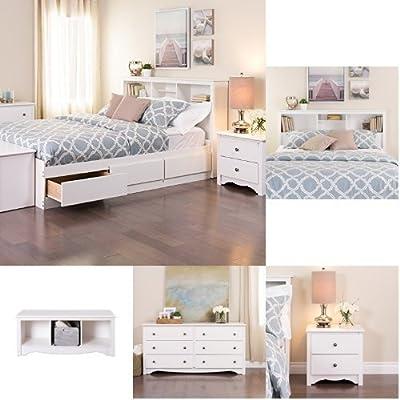 Prepac Monterey 5-piece Queen Bedroom Set - White