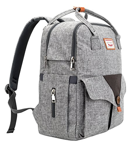Savvy Nomad Diaper Bag Backpack with Stroller Straps & Changing Pad,Multi-Function Waterproof Baby Travel Nappy Bags for Mom & Dad - Large Capacity, Durable and Stylish,Gray (Changing Bag Nappy)