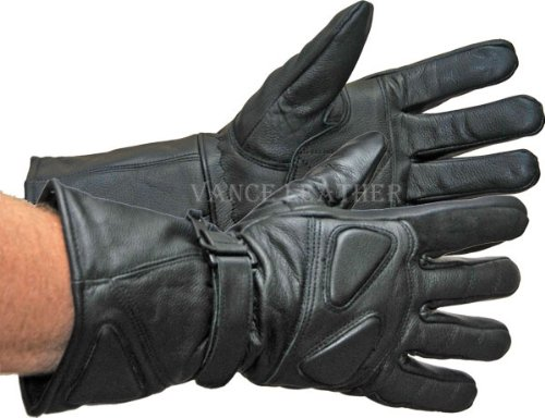 Vance Leather All Leather Premium Padded 419 Gauntlet Motorcycle Gloves Small