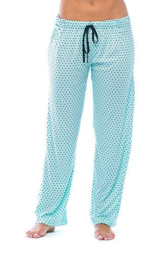 (6332-AQA-1X Just Love Women Pajama Pants - PJs - Sleepwear,Aqua With Black Dots,1X Plus)