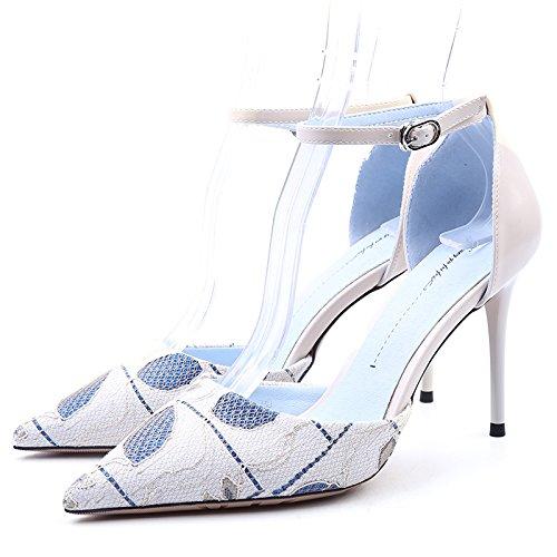 scarpe estate moda mode Nuove single da alti tacchi il ladies' primavera white YMFIE merletto di lavoro e in in scarpe Rice OYxgOwpf