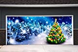 New Year Christmas 3D Garage Door Covers Banners Outdoor Holiday Full Color Christmas Tree Decorations Billboard for 2 Car Garage Door House Art Murals size 82x188 inches DAV109