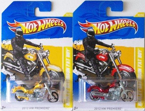 HARLEY-DAVIDSON FAT BOY Hot Wheels 2012 New Models Red & Yellow Variations of Fat Boy Motorcycle 1:64 Scale Collectible Die Cast Car # 30 (Harley Davidson Fat Boy Model)