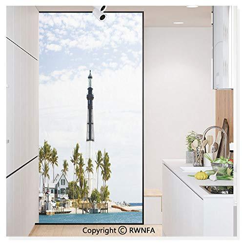 Window Door Sticker Glass Film,Hillsboro Lighthouse Pompano Beach Florida Atlantic Ocean Palms Coast Anti UV Heat Control Privacy Kitchen Curtains for Glass,30 x 59.8 inch,Blue White Green