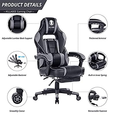 VON RACER Multifunctional Gaming Chair - Elegant Reclining Computer Desk Chair with Soft Memory Foam Seat Cushion - Ergonomic Office Chair with Removable Headrest Lumbar Support Pillow by VON RACER