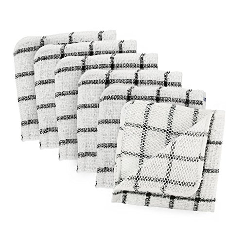 Generic Set of 6,Machine Washable, Everyday Kitchen Basic Scrubber Dish Cloths Black and White by Generic