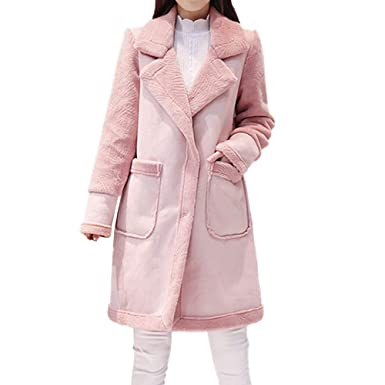 Amazon.com: Vibola Womens Lapel Faux Fur Fleece Lined Warm ...