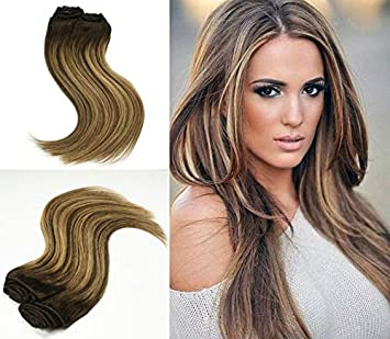 Amazon Com Alizee Balayage Ombre Clip In Human Hair Extensions 2