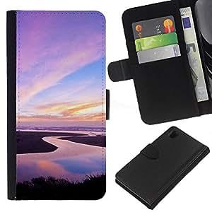 Ihec-Tech / Flip PU Cuero Cover Case para Sony Xperia Z1 L39H - Nature Pink Sky